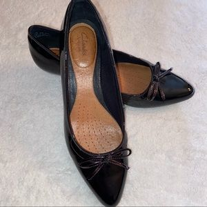 Clarks Artisan Black Patent Leather Heels